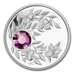 2012 1/4 oz Silver Canadian $3 Birthstone Coin- February Amethyst